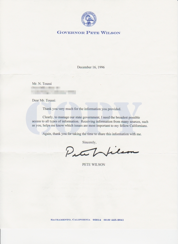Governor Pete Wilson letter